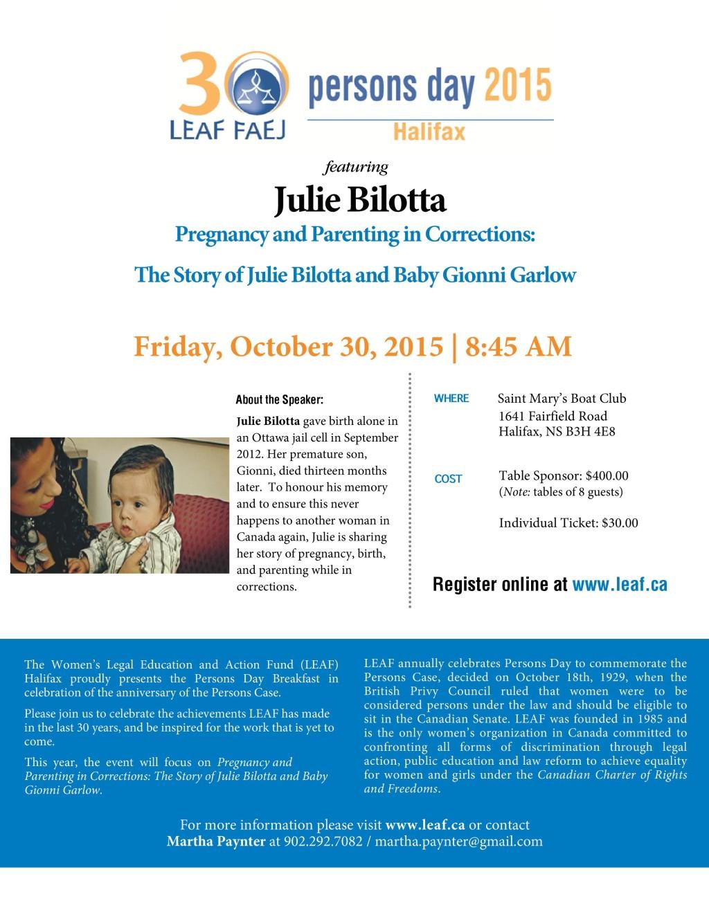 2015 LEAF Halifax Persons Day Breakfast Gala