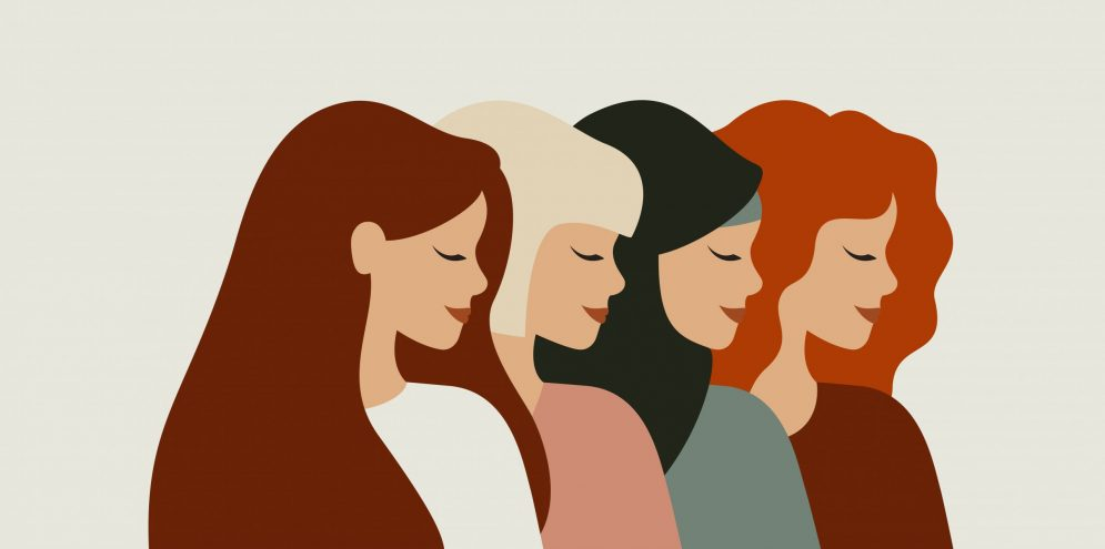 International women day. Diverse female portraits of different nationalities and cultures isolated from the background. The concept of the women's empowerment movement