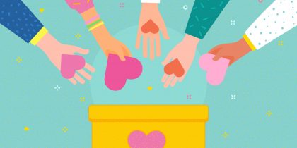Concept of charity and donation. Give and share your love to people. Hands holding a heart symbol and put hearts in a donation box with heart. Flat design, vector illustration.