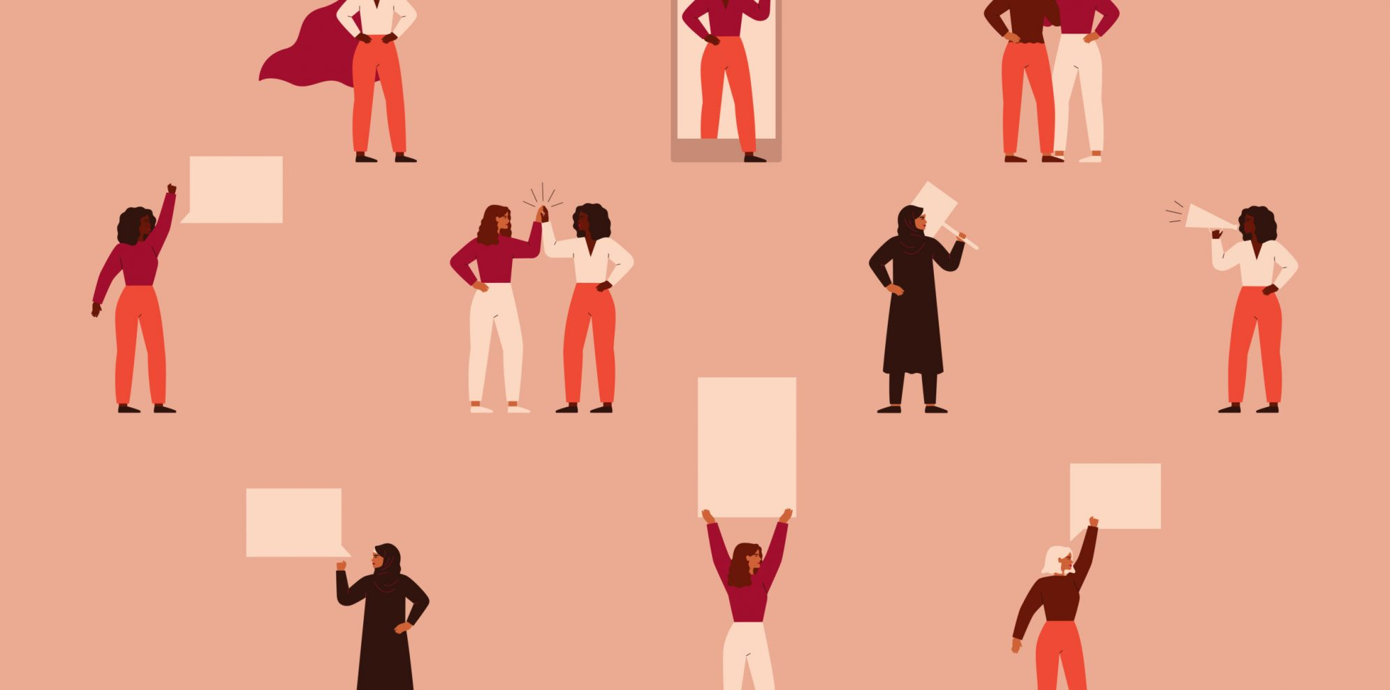 Strong women different nationalities and cultures protest. Concept of political meeting, parade, picketing, or demonstration, female's empowerment movement. Vector illustration in flat cartoon style.
